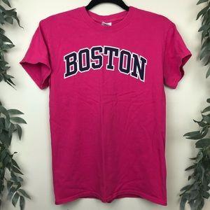 Cotton Boston Block Letter Pink T Shirt Size S